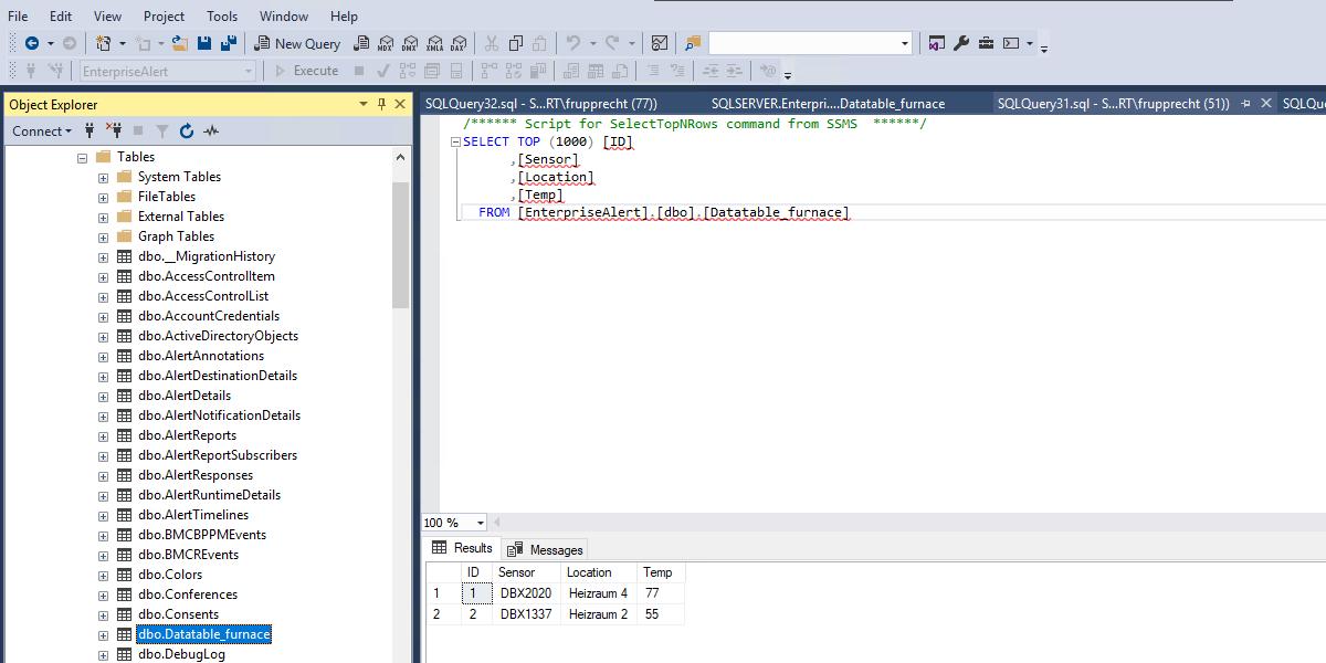 Alarmierung aus einer Datenbank (SQL, Powershell, REST API)